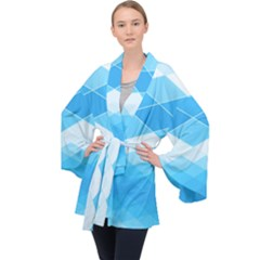 Light Blue And White Color Diamonds Long Sleeve Velvet Kimono