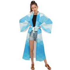 Light Blue And White Color Diamonds Maxi Kimono by SpinnyChairDesigns