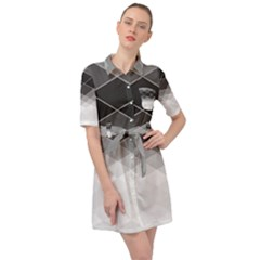 Black White Grey Color Diamonds Belted Shirt Dress by SpinnyChairDesigns