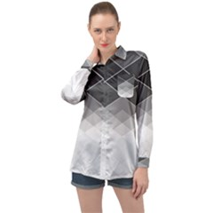 Black White Grey Color Diamonds Long Sleeve Satin Shirt