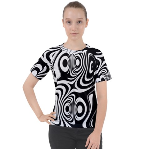 Black And White Abstract Stripes Women s Sport Raglan Tee by SpinnyChairDesigns