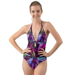 Fractal Circles Abstract Halter Cut-out One Piece Swimsuit