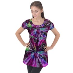 Fractal Circles Abstract Puff Sleeve Tunic Top by HermanTelo