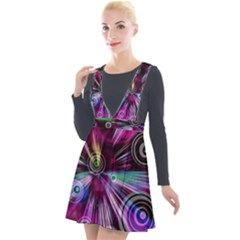 Fractal Circles Abstract Plunge Pinafore Velour Dress by HermanTelo