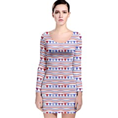 Nautical Digital Paper Nautical Boat Long Sleeve Velvet Bodycon Dress