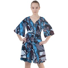 Marginata Flowers  Boho Button Up Dress