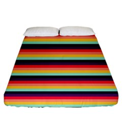 Contrast Rainbow Stripes Fitted Sheet (california King Size) by tmsartbazaar