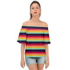 Contrast Rainbow Stripes Off Shoulder Short Sleeve Top