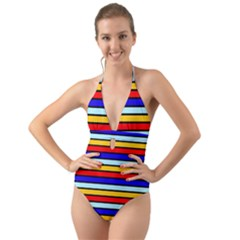 Red And Blue Contrast Yellow Stripes Halter Cut-out One Piece Swimsuit