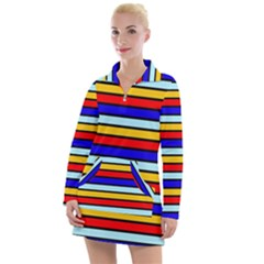 Red And Blue Contrast Yellow Stripes Women s Long Sleeve Casual Dress by tmsartbazaar