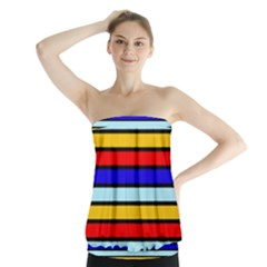 Red And Blue Contrast Yellow Stripes Strapless Top by tmsartbazaar