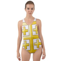 Arms Of The Kingdom Of Jerusalem Cut-out Back One Piece Swimsuit by abbeyz71