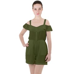 Army Green Solid Color Ruffle Cut Out Chiffon Playsuit