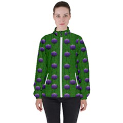 Power To The Big Flowers Festive Women s High Neck Windbreaker