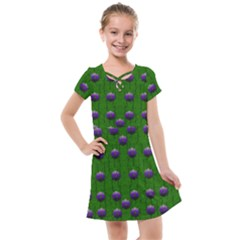 Power To The Big Flowers Festive Kids  Cross Web Dress