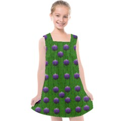 Power To The Big Flowers Festive Kids  Cross Back Dress