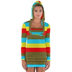 Multicolor With Black Lines Long Sleeve Hooded T-shirt by tmsartbazaar
