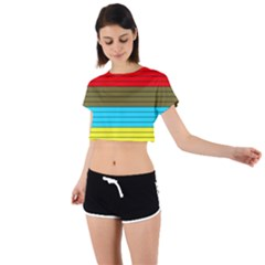Multicolor With Black Lines Tie Back Short Sleeve Crop Tee by tmsartbazaar