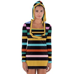 Colorful Mime Black Stripes Long Sleeve Hooded T-shirt by tmsartbazaar