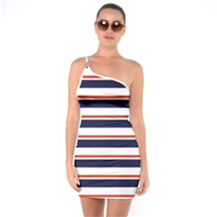 Red With Blue Stripes One Soulder Bodycon Dress
