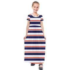 Red With Blue Stripes Kids  Short Sleeve Maxi Dress by tmsartbazaar