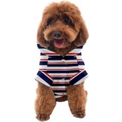 Red With Blue Stripes Dog Coat by tmsartbazaar