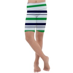 Green With Blue Stripes Kids  Lightweight Velour Cropped Yoga Leggings