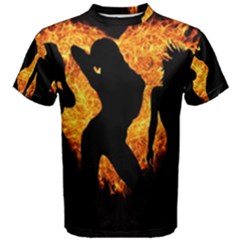Shadow Heart Love Flame Girl Sexy Pose Men s Cotton Tee