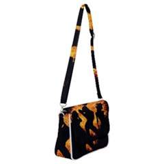 Shadow Heart Love Flame Girl Sexy Pose Shoulder Bag With Back Zipper