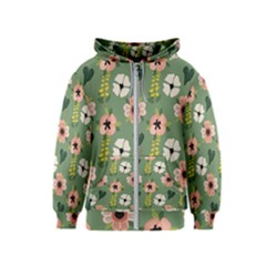 Flower Green Pink Pattern Floral Kids  Zipper Hoodie