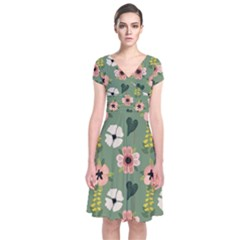 Flower Green Pink Pattern Floral Short Sleeve Front Wrap Dress