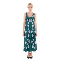 Porcelain Flowers  On Leaves Sleeveless Maxi Dress