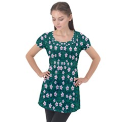 Porcelain Flowers  On Leaves Puff Sleeve Tunic Top