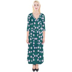 Porcelain Flowers  On Leaves Quarter Sleeve Wrap Maxi Dress