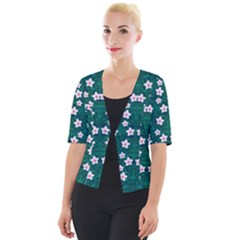 Porcelain Flowers  On Leaves Cropped Button Cardigan