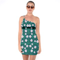 Porcelain Flowers  On Leaves One Soulder Bodycon Dress
