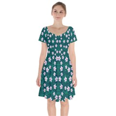 Porcelain Flowers  On Leaves Short Sleeve Bardot Dress