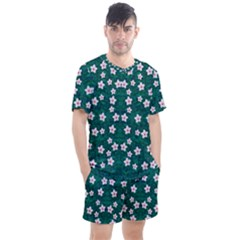 Porcelain Flowers  On Leaves Men s Mesh Tee And Shorts Set