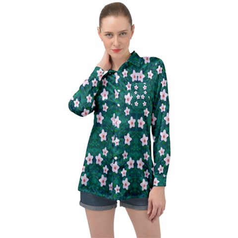 Porcelain Flowers  On Leaves Long Sleeve Satin Shirt by pepitasart