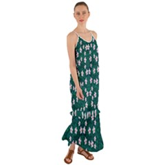 Porcelain Flowers  On Leaves Cami Maxi Ruffle Chiffon Dress