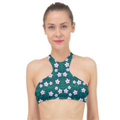 Porcelain Flowers  On Leaves High Neck Bikini Top