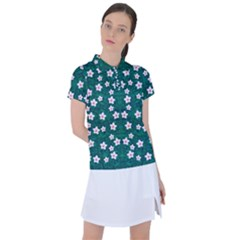 Porcelain Flowers  On Leaves Women s Polo Tee