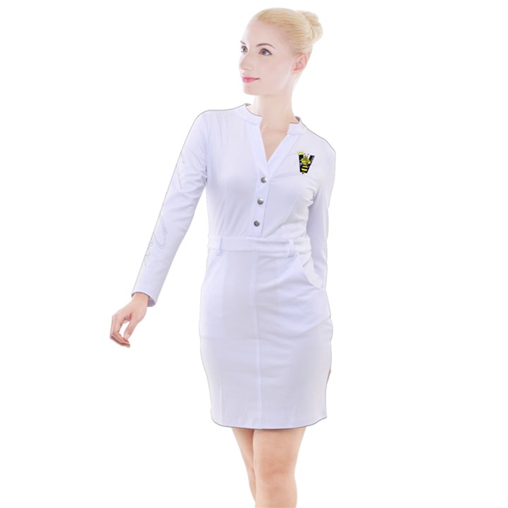 VegaDon Signature Yellow Logo Button Long Sleeve Dress