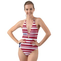 Qr-code & Barcode American Flag Halter Cut-out One Piece Swimsuit by abbeyz71