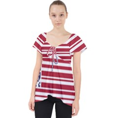 Qr-code & Barcode American Flag Lace Front Dolly Top