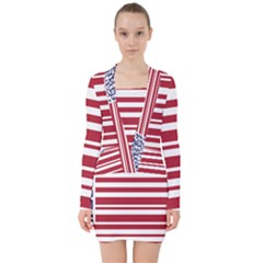 Qr-code & Barcode American Flag V-neck Bodycon Long Sleeve Dress