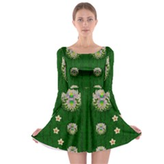 The Way To Freedom One Island One Gnome Long Sleeve Skater Dress