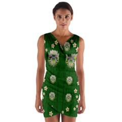 The Way To Freedom One Island One Gnome Wrap Front Bodycon Dress