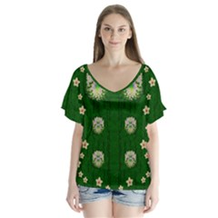 The Way To Freedom One Island One Gnome V-neck Flutter Sleeve Top