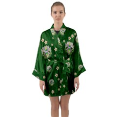 The Way To Freedom One Island One Gnome Long Sleeve Satin Kimono